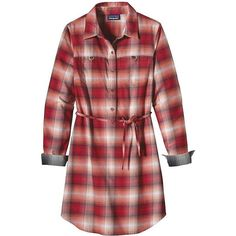 Patagonia Women's Featherstone Dress (273.460 COP) ❤ liked on Polyvore featuring dresses, patagonia, shirt dress, patagonia dress, long plaid shirt dress and red plaid dress