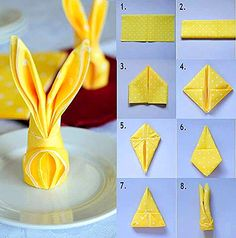 Folding cute bunny napkins for Easter Fancy Napkin Folding, Bunny Napkin Fold, Christmas Napkin Folding, Christmas Napkins, Christmas Crafts, How To Fold Napkins, Folding Napkins, Ostern Party, Diy Y Manualidades