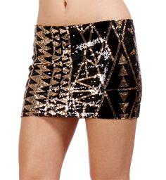 Pre-Order: Black/Gold Triangle Design Sequin Skirt
