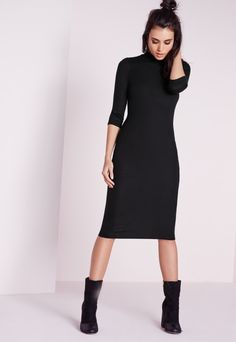 Here at Missguided HQ black has always been our fave shade and we think you'll look totally chic in this long sleeve midi dress. With a ribbed design and high neck, you'll be able to pair this dress with some black heeled ankle boots and a ...