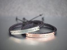 Custom Coordinates Bracelets Matching Couple by TimArtCreations