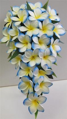 Latex-real-touch-frangipani-flower-wedding-bouquet-white-yellow-blue-teardrop