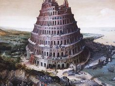 Lucas van Valckenborch : The construction of the Tower of Babel ルーカス・ファン・ファルケンボルヒ Turm Von Babylon, Wild Bull, Tower Of Babel, Sumerian, Landscape Artwork, Seven Wonders, Ancient Mysteries, Bible Art, Ancient History