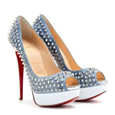 Christian Louboutin Lady Peep Spikes 150 Peep-Toe Platform Pumps ($1,395) ❤ liked on Polyvore featuring shoes, pumps, heels, christian louboutin, sapatos, high heeled footwear, leather pumps, white platform pumps, white peep toe pumps and white leather shoes