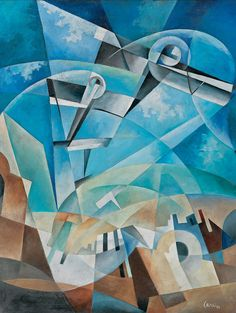 Tullio Crali (Italian, 1910–2000), Volo condiviso, 1933. Oil on panel, 60 x 46.5 cm.