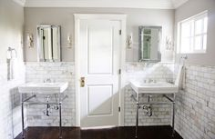 Benjamin Moore Revere Pewter greige paint, Calcutta Gold marble subway tile.  Beautiful and classic bathroom.