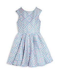 Un Deux Trois Girl's Ikat-Print Party Dress - Blue Color - Size