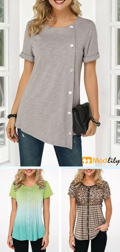 whoeslale women's shirts,women's tees , with cheap wholesale price, cheap shirt online store, Worldwide Delivery No Ninimum Order! Beautiful Outfits, Cool Outfits, Casual Outfits, Look Fashion, Fashion Outfits, Womens Fashion, Womens Trendy Tops, Tunic Designs, Cozy Outfits