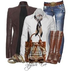 White, Purple, Tan and Beige | jeans and Boots | Scarf | Burberry Purse