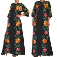 1960s Vintage Designer Talitha Getty Style Embroidery Cotton Maxi Tunic. Http://apartoftherest.com. 60s Fashion