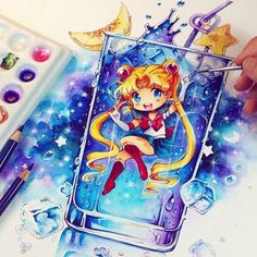 Yuuush it's a fresh Sailor Moon Space Drink with watercolors *^_^* Tool Anime Chibi, Anime Pokemon, Anime W, Kawaii Chibi, Anime Kawaii, Sailor Moon S, Sailor Moon Crystal, Art Disney, Disney Kunst