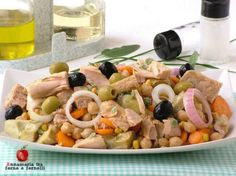 insalata di ceci con tonno e carciofini Cold Dishes, Antipasto, Gnocchi, Salads, Chicken, Cooking, Mozzarella, Oven, Vegetables