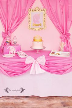 Easy Inexpensive Pink Princess Birthday Party Table Setting | .fivemarigolds.com & Doorway decoration for princess party made from plastic table covers ...