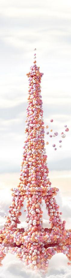 Paris - Eiffel Météorites Perles - Guerlain, Eiffel tower of balloons Oh Paris, I Love Paris, Pink Paris, Torre Eiffel Paris, Bubble Balloons, Pink Balloons, Bubbles, Everything Pink, Pretty Pastel