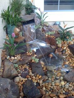Waterfall falls nicely down to a lower pool and then over a really nice Tennessee river rock. Outdoor Ponds, Outdoor Spaces, Goldfish Pond, Rock Waterfall, Garden Projects, Garden Ideas, Backyard, Patio, Water Features