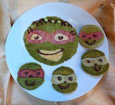Ninja turtles pancakes (made with matcha tea and food colouring)