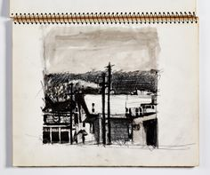 Diebenkorn,Crayon, pen and ink and graphite with ink or watercolor wash, Page 103 from Sketchbook # 20 [city scape]