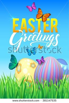 Easter Greetings Vector Greeting Card. Painted Eggs on the Green Grass, Blue Sky with Butterflies, Happy Spring. Happy Easter Holiday