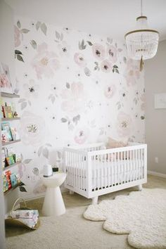 "A soft floral print in muted grays and pinks, this pretty wallpaper will add an elegant touch to your baby girl's nursery. Details + Dimensions: 20.5"" w x 33' l Approximately 56 square feet Each order includes one double roll Repeat is 20.5"" Self-adhesive + removable Lead, phthalate and VOC-free Wallpaper should be applied to surfaces that are in good condition + that have been painted with eggshell, satin or semi-gloss paint Not recommended for application on matte/fl..."