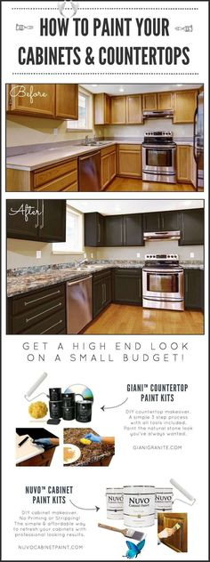 DIY Paint Kits for Your Home DIY Kitchen Makeover on a Budget. Before and After. Giani Granite Countertop Paint kits transform existing counters to the look of natural stone and Nuvo Cabinet Paint is a one-day makeover process. www.gianigranite.com<br>