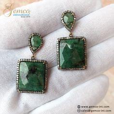 Pave Set #Diamonds Designer #Square Shaped #Emerald #Earrings  #jewelry #diamondjewelry #gold #fashion #antique