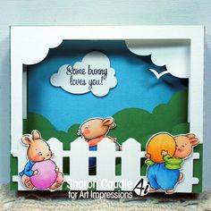 Art Impressions Rubber Stamps: Ai Easter: Hoppy Easter Set (Sku#4754) ...handmade shadow box card with clouds,fence, bunnies.  Bunny rabbits