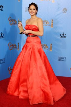 The 100 Best Pictures From Golden Globes Night!: Jennifer Lawrence showed off her statue in the press room.