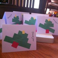 Christmas thank you cards from construction paper strips
