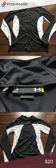 Under Armour Active Jacket Size small (loose) black & white Under Armour zip up jacket. 88% Polyester, 12% spandex. It is customized on left shoulder (Kenosha Country Club) but it is oh-so comfy!! Under Armour Jackets & Coats