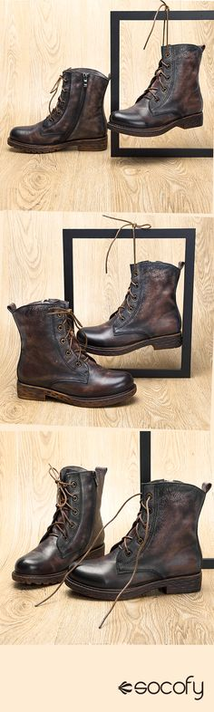 445bf82a810f US 53.63 SOCOFY Retro Classic Style Ankle Zipper Leather Flat Boots  Chaussure