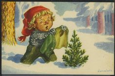 Christmas And New Year, Vintage Christmas, Christmas Postcards, Christmas Cards, Vintage Photographs, Gnomes, Norway, Weird, Disney Princess