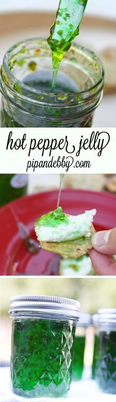 Hot Pepper Jelly - spread this delicious jelly on a sandwich, crackers or toast! This is SUCH a great idea for holiday gifts!!