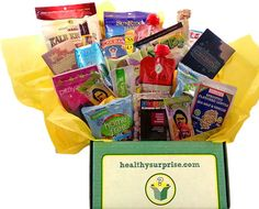 """Healthy Surprise """"Healthy"""" Box. The best snacks on the planet delivered monthly. Gluten Free, Soy Free, Natural & Vegan. Oh, and super delicious."""