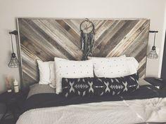 Headboards Etsy Reclaimed Wood Pallet Wood Geometric Boho Rustic Industrial Weathered Bedroom Bed DIY