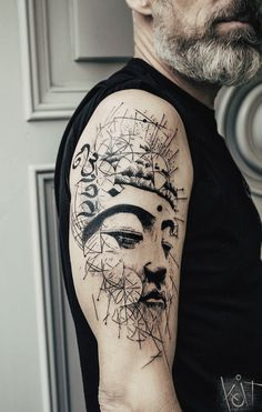 Koit Tattoo Buddha arm black piece. Graphic / geometric / spiritual style. Berlin // travelling tattoo ideas | ink | inked | tattoo artist | Germany | tattoo ideas | illustration | graphic design | geometry | Koit Tattoo