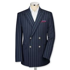 Blue Striped Double breasted tailored fit blazer from Charles Tyrwhitt