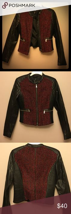 Fully lined vegan leather and fabric moto jacket The moto jacket where chic meets rebel. The sides and shoulders are gathered for extra detail. Front zip at the waist. Tweed is red black and gray with a copper metallic weave. Front pockets are functional H&M Jackets & Coats