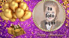 Feliz Cumpleaños Con Globos Dorados Marcos para fotos Christmas Bulbs, Birthday Cake, Holiday Decor, Desserts, Anniversary Pictures, Happy Brithday, Amor, Happy Birthday Text, Happy Birthday Photos