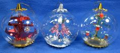 3 Vintage West Germany Resl Lenz Clear Filled Glass Christmas Ornaments 1960s