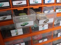Disney Cars Diecast Storage Garage. This is brilliant, and I am doing this for S's room, for sure.