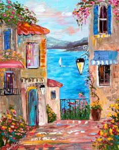 Karen Tarlton: Karen Tarlton Original oil painting Lake Como Italy – Willkommen bei Pin World Watercolor Illustration, Watercolor Paintings, Oil Paintings, Landscape Art, Landscape Paintings, Acrylic Painting Canvas, Canvas Art, Knife Painting, Italy Painting