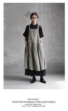 BerryStyle: Joie de Vivre French linen herringbone over die apron dress Mori Fashion, Hijab Fashion, Fashion Outfits, Womens Fashion, Creation Couture, Advanced Style, Apron Dress, Mori Girl, Linen Dresses