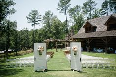 wedding ceremony at Swann Lake Stables