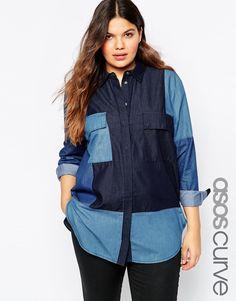 ASOS CURVE Denim Shirt In Colour Block
