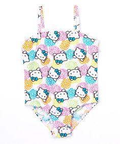 Loving this White & Blue Floral Hello Kitty One-Piece - Girls on #zulily! #zulilyfinds