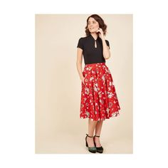 Rockabilly Long Full Santa Baby One More Time A-Line Skirt ($24) ❤ liked on Polyvore featuring skirts, bottoms, apparel, full skirt, red, long circle skirt, long flared skirt, long full skirt, high waisted long skirt and high-waisted flared skirts