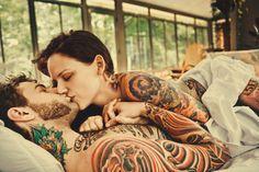 couple, kiss, tattoos