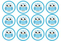 12 Light Blue Owl Baby Shower Edible Rice/Wafer Paper Cake/Cucake Toppers