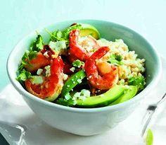 Ginger-shrimp brown-rice bowl