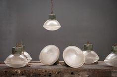 USA, 1950s, Vintage Industrial Rovic Military Holophane Glass Pendant Lights.  http://lnk.al/20ec